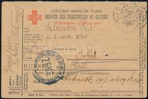 1917 Hadifogoly levelezőlap Oroszországba