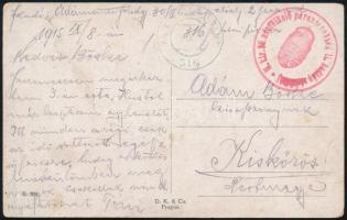 1915 Tábori posta képeslap M.kir. népfölkelő parancsnokság II. hadtáp zászlóalj