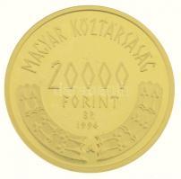1996. 20.000Ft Au Honfoglalás 1000. évfordulója dísztokban (7g/0.986) T:1 (eredetileg PP) Hungary 1996. 20.000 Forint Au 1000th Anniversary of the Hungarian Landtaking in case (7g/0.986) C:UNC (originally PP) Adamo EM142