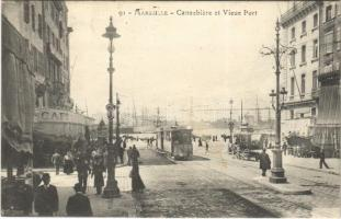 Marseille, Cannebiere et Vieux Port / tram, port, cafe