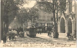 1902 Nice, Nizza; Avenue de la Gare / street, tram (EK)