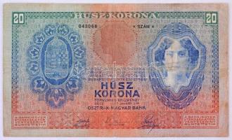 1907. 20K 2234 043068 T:III,III- ly. Hungary 1907. 20 Korona 2234 043068 C:F,VG hole Adamo K16