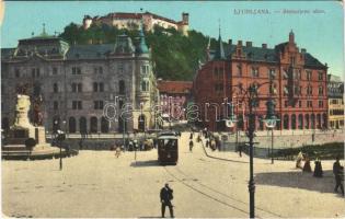 1916 Ljubljana, Laibach; Stritarjeve ulice / street, tram