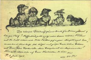 1904 Tacskók / Wir bringen Glück / Dachshund dogs (EK)
