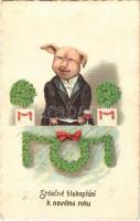 1924 Srdecné blahoprání k novému roku / New Year / Újévi malac. LP 960 litho