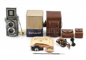 Meopta Flexaret VI. kamera Belar 1:3,5/80 mm objektívvel jó állapotban, bőrtokkal + hozzá tartozékokkal, kioldóval, eredeti papír dobozzal, leírással / Vintage camera