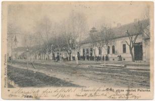 1905 Palánka, Bácspalánka, Backa Palanka; Fő utca, Reszely Károly üzlete és saját kiadása / street, shop (ázott / wet damage)