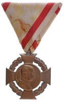 1908. Katonai Jubileumi Kereszt Br kitüntetés eredeti mellszalaggal T:2- Hungary 1908. Diamond Jubilee Cross for the Armed Forces Br decoration with original ribbon C:VF  NMK 269.
