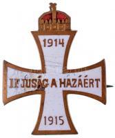 1915. Ifjúság a Hazáért 1914-1915 zománcozott Cu jelvény, hátoldalán Hadsegélyező Hivatal (29x23mm) T:2- zománchiba