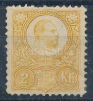 1883 Réznyomat Újnyomat 2kr (min 17.000) (felül törés, hiányzó fog / fold, missing perf)
