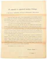 1896 Ferenc József király a magyar Milleniumi Ünnepségek lezárulta után kiadott hirdetménye az ünnepségek és Magyarország méltatásával. Hajtva, jó állapotban 33x42 cm