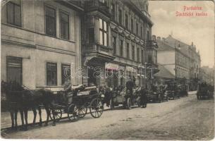 1915 Pardubice, Slechtické kasino, Hlavni Skladobuy, J. Marha / street, automobile, horce chariot, casino, shops (EK)