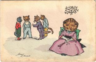 Egyedül unatkozó macska hölgy / Bored cat lady alone. B.K.W.I. 73.1