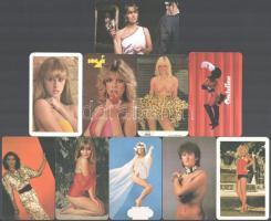 1975--1990 10 db nőket ábrázoló kártyanaptár, közte erotikus