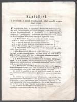 1850 Szabályok a levélbér s annak levéljegyek által leendő beszedése iránt. Az első bélyeg díjszabás még levéljegyként nevezve a bélyegeket. 4 p