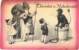 1932 Üdvözlet a Mikulástól! Krampusz és gyerekek / Saint Nicholas and Krampus (EK)
