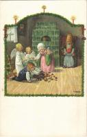 Karácsonyi gyerekek / Christmas and children. M.M. Nr. 1227. litho s: Pauli Ebner (EK)