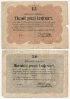 1849. 15kr + 30kr Kossuth bankó T:III-,IV Adamo G102,G103