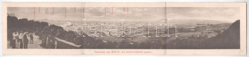 Wien, Vienna, Bécs XIX. Kahlenberg Hotel Restaurant. 3-tiled folding advertising panoramacard