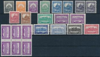 1926 Pengő-fillér I. hiányos A sor másodpéldányokkal + 32f postatiszta hatostömb (30.975)