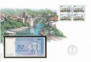 Bosznia-Hercegovina 1998. 50p felbélyegzett borítékban, bélyegzéssel T:1  Bosnia-Herzegovina 1998. 50 Pfengia in envelope with stamp and cancellation C:UNC