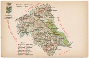 Zágráb vármegye térképe, Károlyi Gy. kiadása / Zupanija Zagrebacka / Map of Zagreb County (EK)
