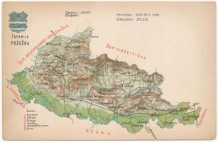 Pozsega vármegye térképe. Kiadja Károlyi Gy. / Zupanija Pozezka / Map of Pozega county