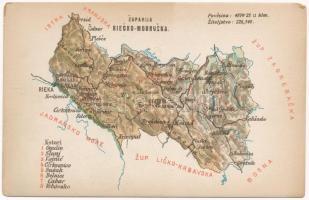 Modrus-Fiume vármegye térképe. Kiadja Károlyi Gy. / Zupanija Riecko-Modruska / Map of Modrus-Rijeka county