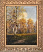Dekoratív, antik szecessziós stílusú, kissé sérült fa keret, sérült olaj, vászon festménnyel, olvashatatlan jelzéssel. Belső méret: 69x56 cm.