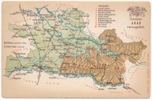 Arad vármegye térképe. Kiadja Károlyi Gy. / Map of Arad county