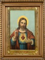 Dekoratív üvegezett fa keret, régi Jézus szíves nyomattal. Belső méret: 42x34 cm, látható méret: 40,5x32,5 cm