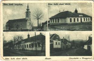 1932 Abasár, Római katolikus templom és elemi iskola, utca, Hangya Szövetkezet üzlete . Özv. Korényi Imréné kiadása (EB)