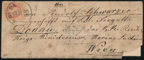 1868 Levél 5 kr bérmentesítéssel,melyet Szingapúrban írtak meg,majd Ó-Budán adta fel és Bécsbe a hadügyminisztérium tengerészeti osztályára címeztek,tartalommal