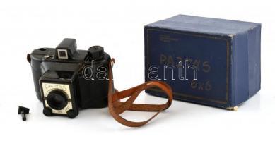 Gamma Pajtás fényképezőgép, Achromat 1:8/80 mm objektívvel, 6x6 cm filmformátum, eredeti dobozában
