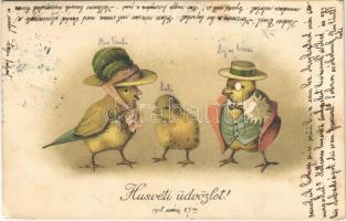 1918 Húsvéti üdvözlet! csibe család / Easter greeting, chicken family. litho