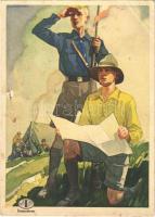 Cserkészek! Indanthren textil festék reklámlap cserkészekkel, mosás és időjárásálló viselet / Hungarian textile paint advertisement card, boy scouts, artist signed (EB)