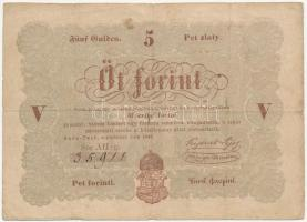 1848. 5Ft Kossuth bankó barna nyomat T:III Adamo G109A