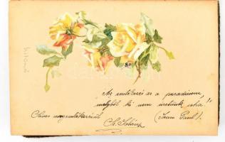 1906 Régi emlékkönyv, bejegyzésekkel, litho kezdőlappal, illusztrációkkal, kötése sérült