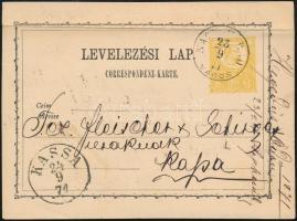 1871 2kr díjjegyes levelezőlap NAGYVÁRAD / VÁROS - KASSA