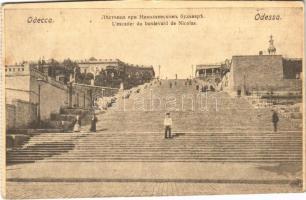 1918 Odessa, Odesa; Lescalier du boulevard de Nicolas / stairs, mariner + Vertretung des k.u.k. Kriegsministeriums in Odessa (cut)