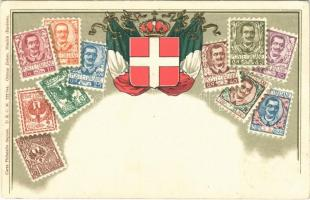 Set of Italian stamps with Italian flag and coat of arms. Carte Philatelie D.R.G.M. Ottmar Zieher Emb. litho (EK)