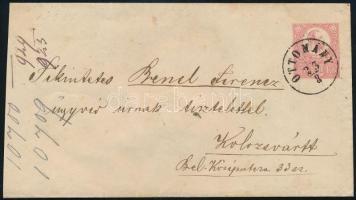 1873 5kr díjjegyes levél OTTOMÁNY - ÉRM(IHÁLY)FALVA - KOLOZSVÁR