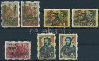 1945 Béke I. 7 db bélyeg részben hiányos alapnyomattal