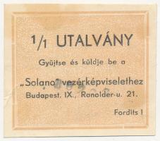 ~1940. Solano 1/1 utalvány kávéhoz, bélyegzéssel T:III fo.
