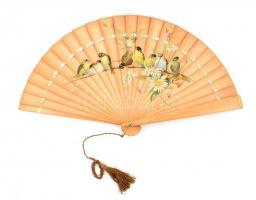 Régi madármintás fa legyező, gróf Hugonnai Vilma orvosnő hagyatékából, h: 29 cm