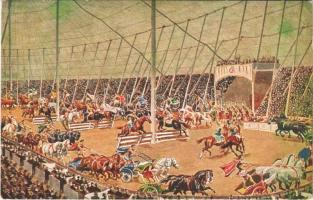 Riesen-Circus Krone. Größte Schaustellung Europas. Der Circus Maxim II mit seinen altrömischen Arenaspielen und Wagenwettkämpfen / Krone Giant Circus advertisement card (EK)