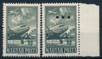 1957 Az 1950. Repülő (V.) záróértéke párban,az egyik érték hármaslyukasztással (törések/folds) (5.200)