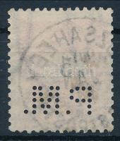 Fekete számú krajcáros P.M. perfin (Lente 60 p)