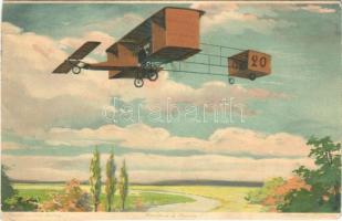 Louis Paulhan pioneering French aviators biplane aircraft. Meissner & Buch Künstler-Postkarten Serie 1715. Aeroplane (EB)