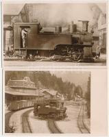2 db régi vonat fotó: iparvasút mozdonya (1057 jelű), mozdony a forgatóban / 2 pre-1945 locomotive, train photos